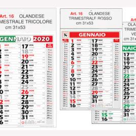 Calendario trimestrale, Art.16 grafica testata personalizzabile