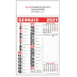 Calendario Olandese appunti nero-rosso, nero-ciano, Art. 20 stampa testata personalizzata