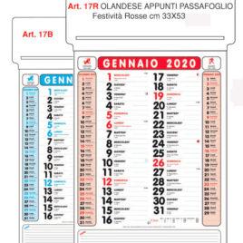 Calendario appunti passafoglio Art. 17 personalizzato