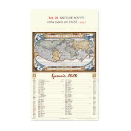 Calendario mappe antiche del mondo figurativo, Art. 39 grafica testata personalizzabile