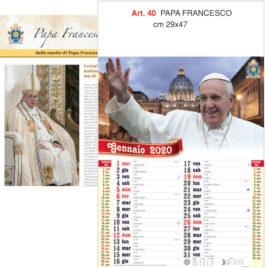 Calendario Papa Francesco 12 fogli, Art. 40 grafica testata personalizzabile