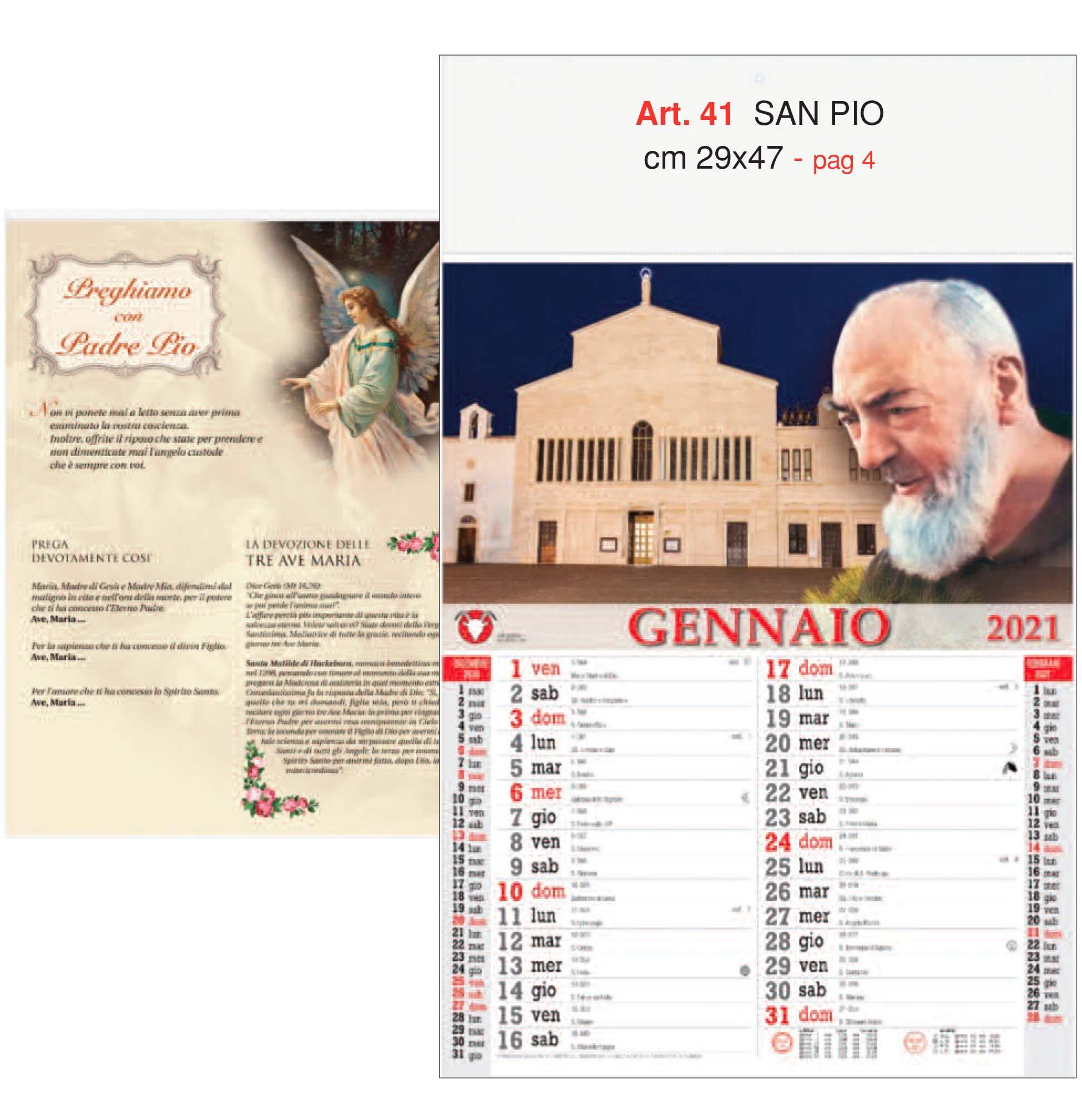 Calendario Padre Pio 12 fogli con la stampa del tuo logo