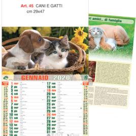 Calendario Cani e Gatti figurato, Art. 45 grafica testata personalizzabile
