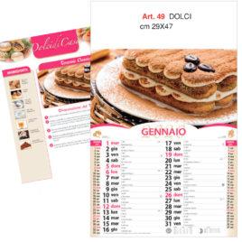 Calendario dolci 12 fogli figurativo, Art. 49 grafica testata personalizzabile