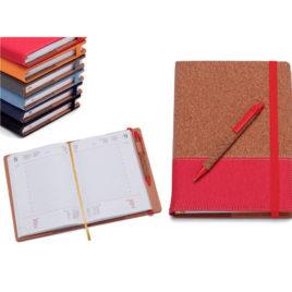 Agenda portafoglio semplice giornaliera in sughero e pu con la stampa del logo della tua azienda,  Art. A52