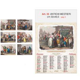 Calendario Antichi mestieri, figurato 6 fogli, Art. 30 grafica testata personalizzabile