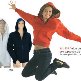 Felpa unisex con cappuccio art. 253 con la stampa del tuo logo