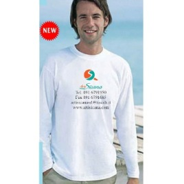 Maglietta unisex bianca girocollo manica lunga Art. 252 con la stampa del tuo logo.