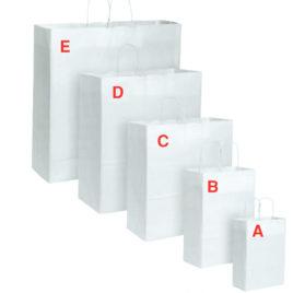 Sacchetto shopper bianco con manico ritorto, Art. KBR con stampa logo