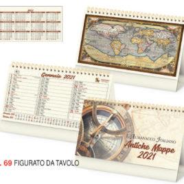 Calendario Antiche Mappe da tavolo, Art.69 grafica personalizzabile