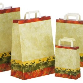 Sacchetto shopper carta Kraft stampato a fantasia, Art. KVE con stampa logo