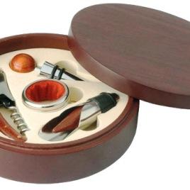 Set Vino 4 pezzi in scatola di legno, Art. 655 con stampa del tuo logo