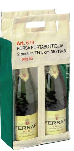 Borsa Portabottiglia 2 posti in TNT, Art. 679 con stampa logo