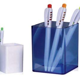 Portapenne in plastica trasparente, Art. 335 personalizzabile