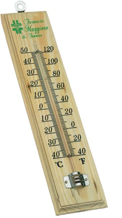 Termometro in legno da parete, Art. 435 con il logo della tua azienda.
