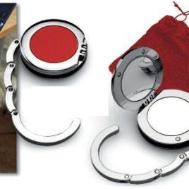 Gancio-specchio appendiborsa da tavolo, Art. 621 con il logo della tua azienda