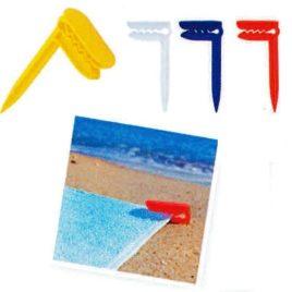 Pinzetta blocca telo mare o stuoia da spiaggia , Art. 635 con il logo della tua azienda