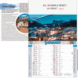 Calendario Mari e Monti 12 fogli figurativo, Art. 58 grafica testata personalizzabile
