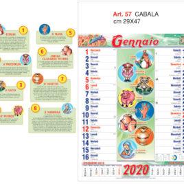 Calendario Cabala e Tombola, 12 fogli figurativo, Art. 57 grafica testata personalizzabile