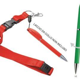 Penna(refil nero) a rotazione ed agganciabile a laccio collo, Art. 163 con stampa logo