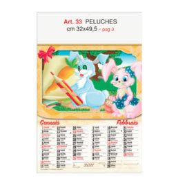 Calendario Peluches 6 fogli, Art. 33 personalizzabile