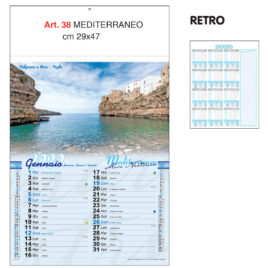 Calendario Mediterraneo, 12 fogli, Art. 38 grafica testata personalizzabile