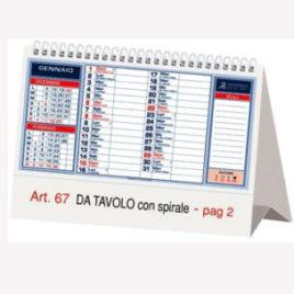 Calendario da tavolo con spirale, Art.67 grafica personalizzabile