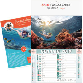 Calendario Fondali Marini, 12 fogli, Art. 38 grafica testata personalizzabile