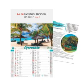 Calendario Paesaggi Tropicali, 12 fogli, Art. 38 grafica testata personalizzabile