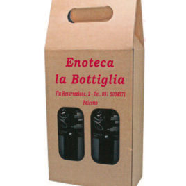 Borsa Portabottiglie 2 posti in cartone, Art. 426 con stampa logo