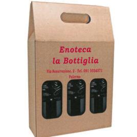 Borsa Portabottiglie 3 posti in cartone, Art. 427 con stampa logo