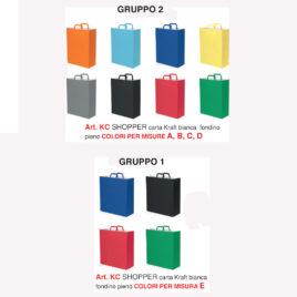 Sacchetto shopper carta kraft a fondino pieno con manico a pattina, Art. KC con stampa logo