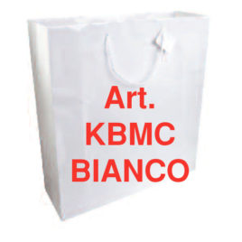Sacchetto shopper carta Kraft bianco, Art. KBMC con stampa logo