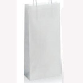 Sacchetto shopper portabottiglie bianco, Art. KBPB con stampa logo