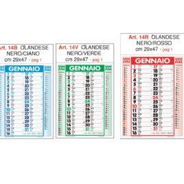 Calendario olandese Art. 14, testata personalizzata