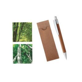 Penna a sfera in bambù, Art. 145 con stampa del tuo logo