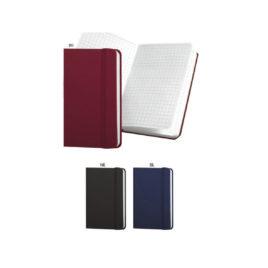 Quaderno a quadretti in gommato con elastico, Art. 659 con la stampa del tuo logo