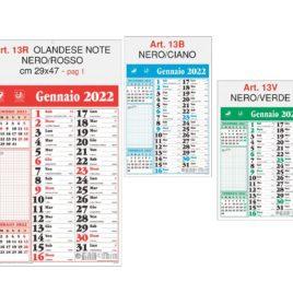 Calendario note Art. 13, testata personalizzata