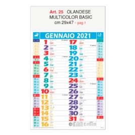 Calendario olandese multicolor basic Art. 25, testata personalizzata