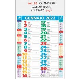 Calendario olandese multicolor basic Art. 25, testata personalizzata